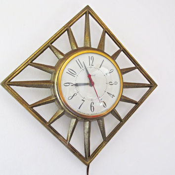 Vintage Gold Metal Wall Clock Sunburst  United Mid Century
