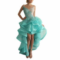 Luxury Short Front Long Back Party Homecoming Cocktail Dress 2017 Asymmetrical Mint Green Applique Backless High Low Prom Dress