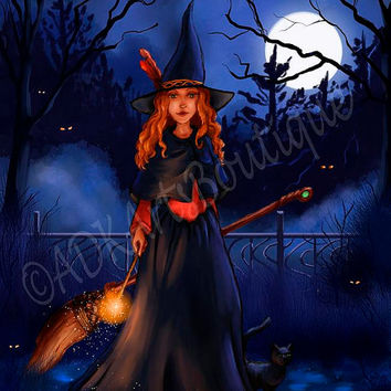Digital Art Fantasy Witch Painting Magic and Moonlight