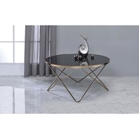 Alluring Coffee Table, Black Glass & Gold