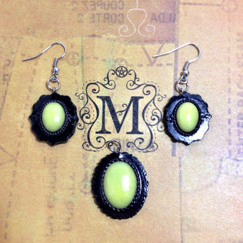Black and Yellow Pendant and Earring Set Polymer Clay