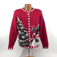 Ugly Christmas Sweater Vintage Cardigan Holiday Tacky Women's size M