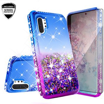 Samsung Galaxy Note 10+ Case,Galaxy Note 10 Plus Case Liquid Glitter Phone Case Waterfall Floating Quicksand Bling Sparkle Cute Protective Girls Women Cover for Galaxy Note 10 Plus W/Temper Glass -  (Blue/Purple Gradient)