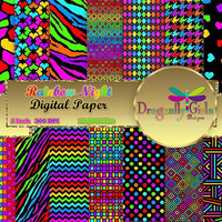 80%  OFF Sale Rainbow Night,  Paper Pack, Printable Digital Scrapbooking, Instant Download, commercial use, vector graphics,