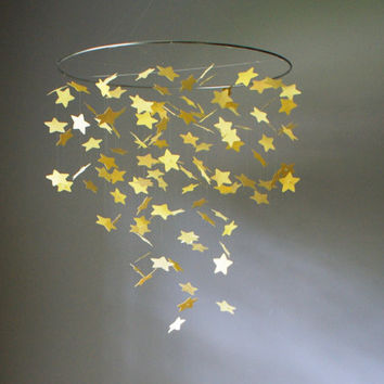 Large Yellow Falling Stars Mobile