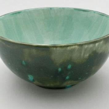 Ceramic bowl with crackle glass glazing, deep green with turquoise glass accents