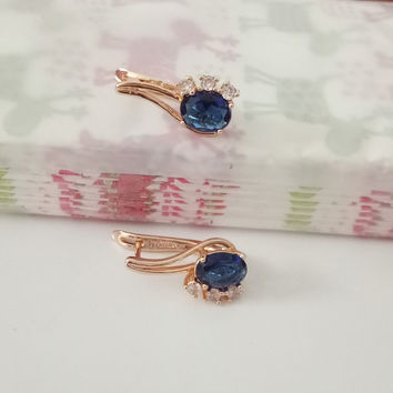 1pair Gold Women Sapphire Jewelry Natural Blue Zircon Fashion Long 585 Gold Wedding Flower Drop Sapphire Earrings for Girls