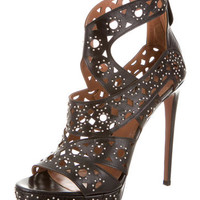 Alaïa Stud Embellished Laser Cut Sandals