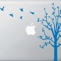 Apple Tree with Birds - Macbook or Laptop Decal (Blue)