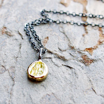 Tiny Drop of Gold Necklace - Solid 14k Round Pebble Pendant on Sterling Chain - 5mm Yellow Gold Dot Charm on Oxidized or Bright Silver