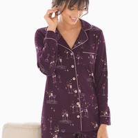 Soma Long Sleeve Notch Collar Pajama Top Party Drinks Bordeaux
