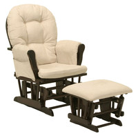 Glider Chair with Arm Cushions and Ottoman in Espresso / Beige