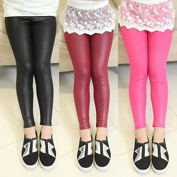 4-12 Year Kids Thin Leather Pants Trousers