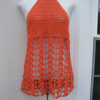 Crochet dress,  beach cover up,  halter, Tangerine,  Boho chic, festival clothing, gypsy, retro