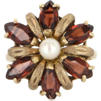 Vintage Yellow Gold Garnet Cultured Pearl Cluster Cocktail Ring Estate Jewelry