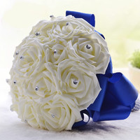 Wedding Flowers Bridal Bouquets Royal Blue Silk Ribbon Handmade Wedding Accessories Q778