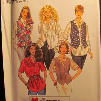 Uncut 1995 Simplicity Sewing Pattern, 9862! 12-14-16 Medium/Large/Women's/Misses/Button Up Vests & Collared Blouses/Loose Fitting Shirts/Top