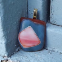 Fused Glass Pendant/ Necklace/ Glass Jewelry, Rust blue orange Necklace