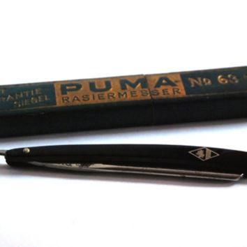 Puma Solingen No 63 3 8 Vintage Straight Razor, Shaving Knife Barber Knife, Retro Barb