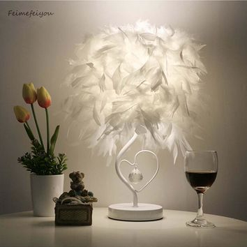 Feimefeiyou Bedside Reading Room Sitting Room Heart Shape Feather Crystal Table Lamp Light with EU plug US UK AU Plug small size
