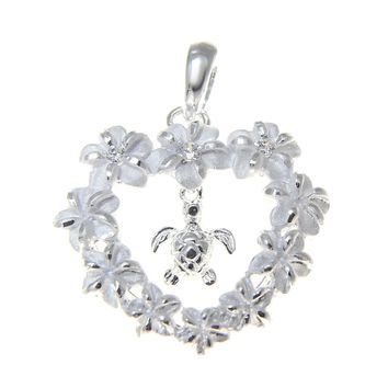 925 SILVER HAWAIIAN PLUMERIA FLOWER HEART LEI DANGLE SEA TURTLE HONU PENDANT