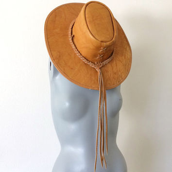 Boho Leather Hat - Vintage Wide Brim Hat