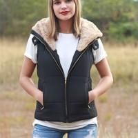 Faux Fur Puffer Vests