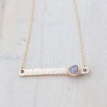 Druzy Bar Necklace - Platinum