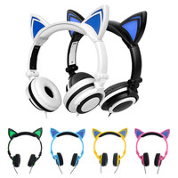 Stylish Cat Ear Headphones for Computer Games Headset Earphone with LED light For PC Laptop Computer Mobile Phone