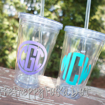Personalized 16oz Acrylic Straw Cup With by ThePreppyPolkaDot