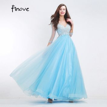 Finove Beading Baby-Blue Prom Dresses Sexy Big V-Neck Elegant Three Quarter Sleeves A-Line Dresses 2017 New Styles Women's Dress
