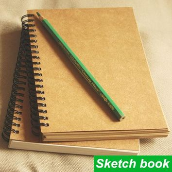 2015 Real Rushed Kraft Coil Notebook Vintage Sketch Book Agenda Caderno Escolar Stationery Office Material School Supplies 6631