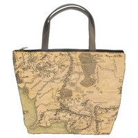 Map Of Middle Earth Realm Lord Of The Rings Handmade Bucket Bag Handbag Leather