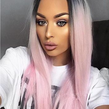 BLACK TO PINK OMBRE STRAIGHT LONG SYNTHETIC LACE FRONT WIG