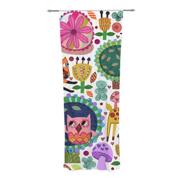 """Jane Smith """"Woodland Critters"""" Colorful Cartoon Decorative Sheer Curtain"""