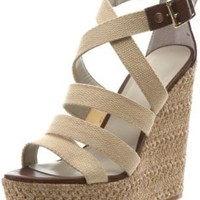 Nine West Women's Braxton Wedge Sandal,Natural/Dark Brown Fabric,9.5 M US