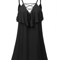 LE3NO Womens Lightweight Flowy Sleeveless Lace Up Front Mini Dress