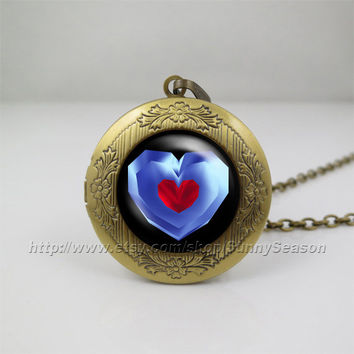 legend of zelda Locket necklace,zelda heart container Photo locket necklace,life Zelda heart container photo locket,Blue