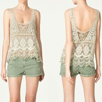 Uneck Solid Color Sleeveless Crochet Lace Women's Vest