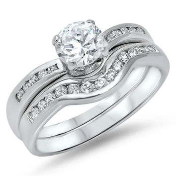 Sterling Silver CZ Wedding Ring Set Engagement Ring and Band size 5-10