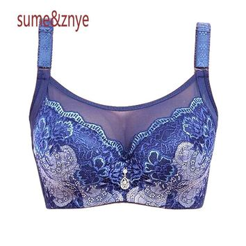Underwear Woman Push up Bra set High quality Embroidery flowers sexy lace bra big Large Size 44 C D Cup plus size bras for women