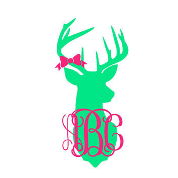 Deer Head Monogram Decal for Car, Yeti, Laptop, and Much More!Deer Head Monogram Decal - Car Decal - Hunting - Buck Deer - Buck Bow
