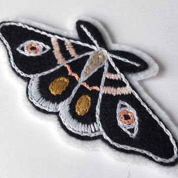 """Hand Embroidered Moth Patch 