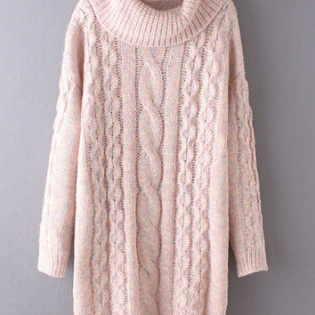 Pink High Neck Cable Knit Long Sweater