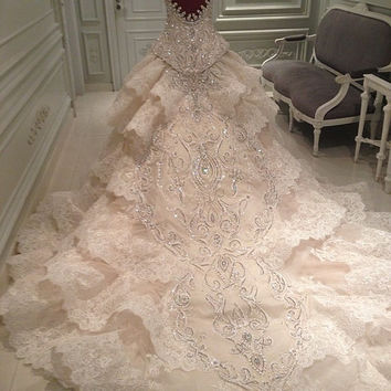 Luxury copy of Michael Cinco handmade Swarovski crystals wedding dress