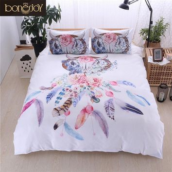 Cool Bonenjoy White Bed Cover Dream Catcher Print Colorful Flower Queen King Size Bedding Set Bed Linen Single Bed Quilt Cover SetsAT_93_12