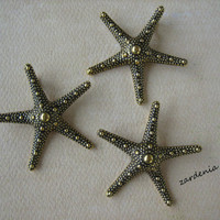 3PCS - Starfish Pendants - Antique Gold Toned - 35mm - Findings by ZARDENIA