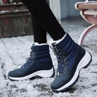2018 Winter Snow Boots Women Ankle Platform Boots White Wedges Shoes Women Rain Boots Warm Plush Lace Up Botas Zapatos De Mujer