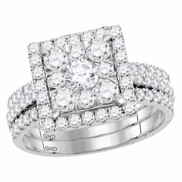 14kt White Gold Womens Round Diamond Square Cluster Bridal Wedding Engagement Ring Band 3-Piece Set 2.00 Cttw