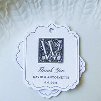 Monogram Gift Tags, Personalized Wedding Favor Tag, Shower Favor Tag, Custom Product Label or Handmade By Tags - Set of 20